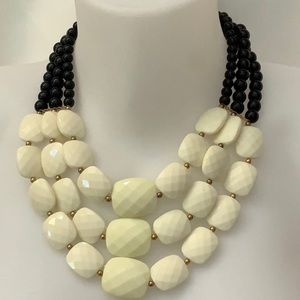 Beige black statement necklace new